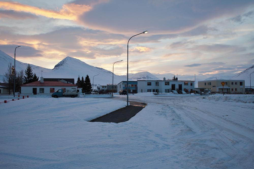 """66°04'20.1""""N 18°39'12.0""""W ,  28/12/2014, 1433 Streetlamp,  Ægisgata, Ólafsfjörður, Iceland"""