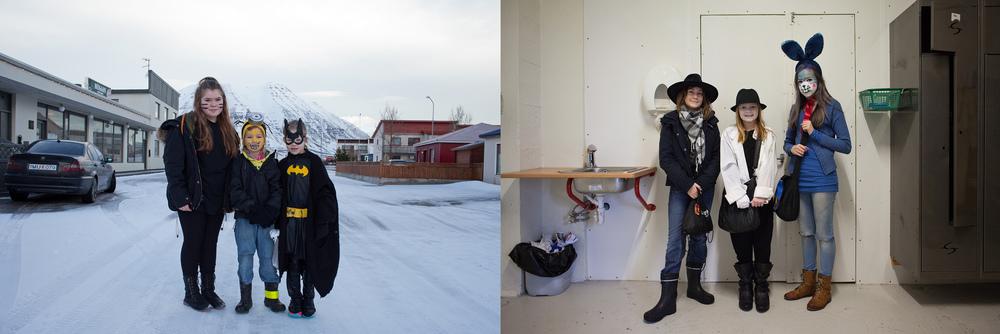 """66°04'21.5""""N 18°39'03.1""""W ,  18/02/2015, 1029  and  66°04'30.4""""N 18°38'26.5""""W ,  18/02/2015, 1104 Öskudagur  costumes,  Hafnargata and Knollur salmon factory,  Ólafsfjörður, Iceland"""