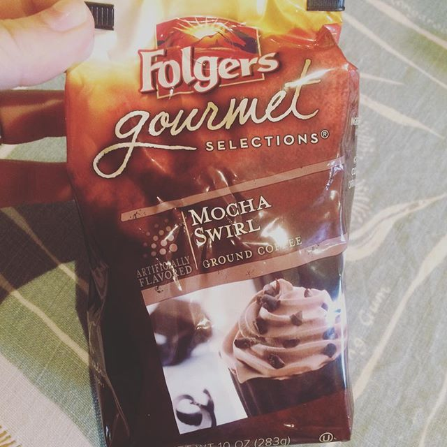 You know there's north American ywamers in my kitchen when @folgers is there! #mochaswirl #flavouredcoffee #helloamerica