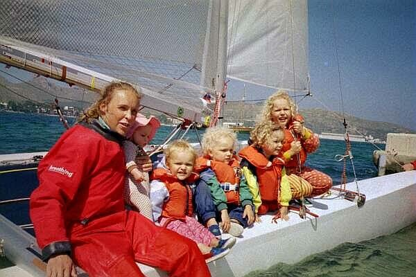 In Mallorca European championships 1999, with 5 kids. We took them out for a few tacks!