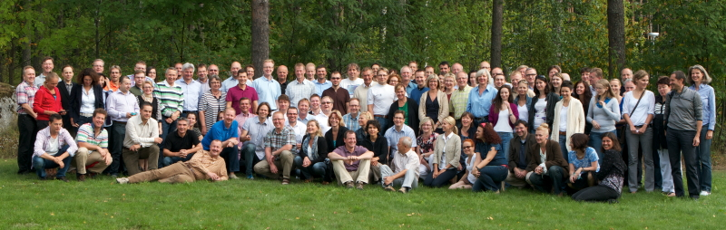 The whole group having learning days in Finland