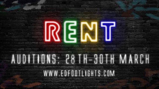 Footlights are so excited to announce auditions dates for our fringe show Rent! More info can be found on the official page here: https://www.facebook.com/events/397936874369419/?event_time_id=397936881036085 #RentAuditions #musicaltheatre #edinburgh
