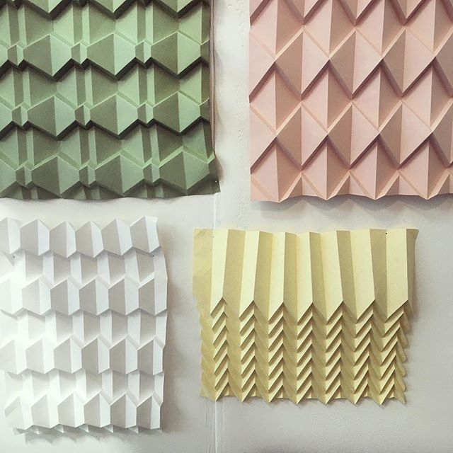 Last chance to visit @100percentdesign today!The show is open until 5pm at Olympia, London. Here's a pic of the folds in my pastel coloured booth. - - - #foldability #origami #origamiart #paperart #paper #setdesign #100design #ldf18