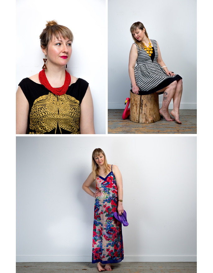 (Clockwise from top left): Necklace and earrings, Mata Traders; Tunic, Sealmaiden; Necklace and dress, Mata Traders; Dress, thrifted/ Buffalo Exchange ; Flipflops,  Ilse Jacobsen Hornbaek