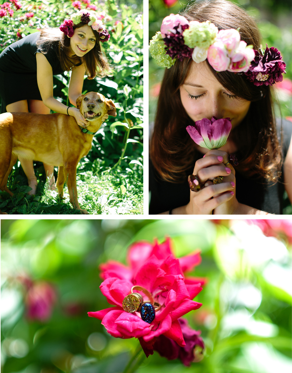 Flower crown,  2h Flowers ; Rings,  Pumpkinseed Jewelry ; Dress,  Mary Meyer ; Pup, Ruby ;  All cosmetics for this story,  Pacifica  and  Medusa's Makeup