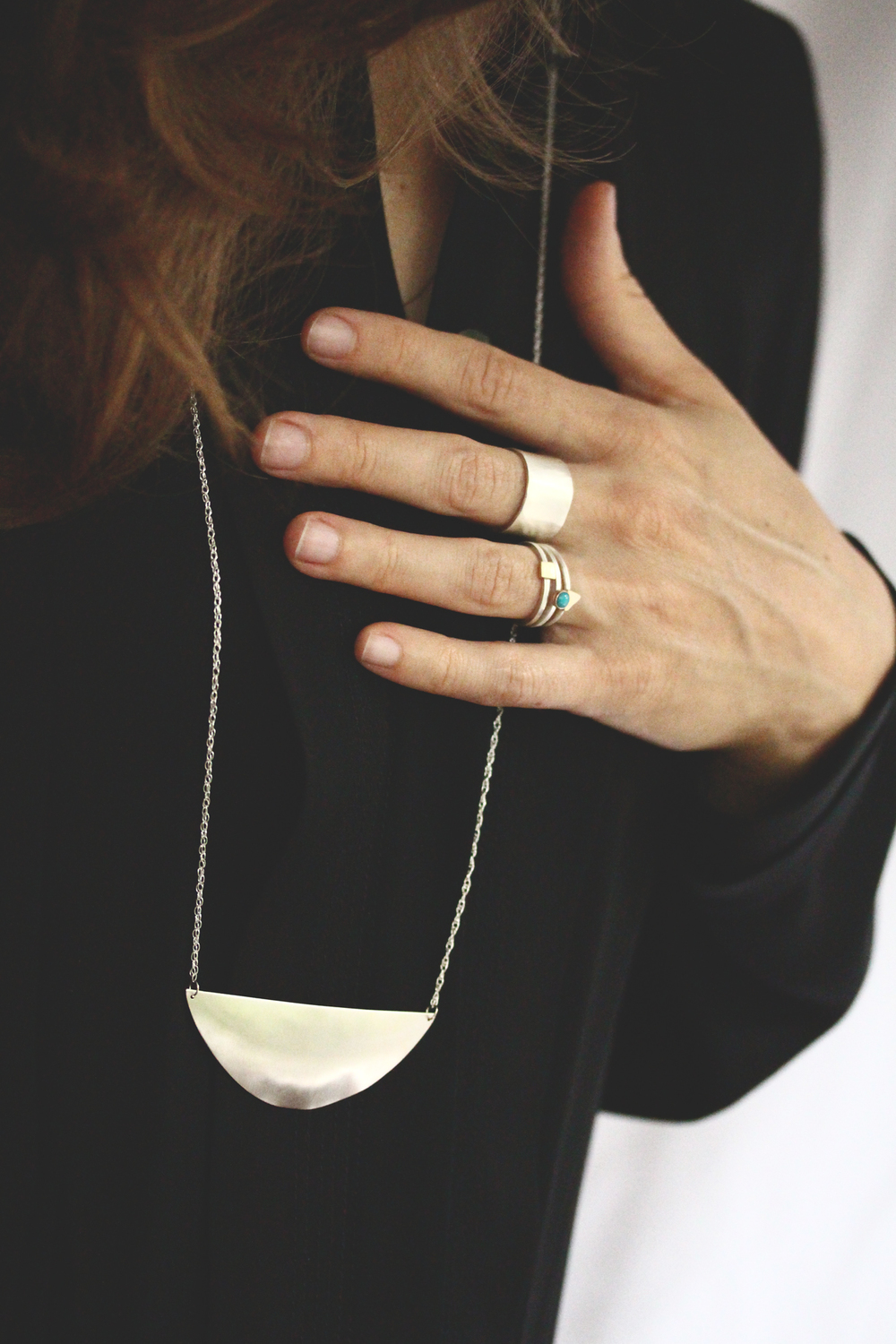"Rings and necklace from Rebecca Mir Grady's fall '14 collection, ""Drift;"" image courtesy of label"