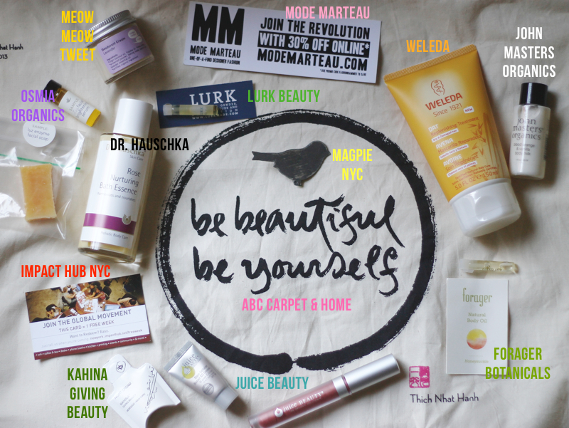 Each attendee got a beautiful tote bag from ABC Home, filled with beauty treats courtesy ofDr. Hauschka, Forager Botanicals, Juice Beauty, John Masters Organics, Kahina Giving Beauty, Lurk Beauty, Meow Meow Tweet, Osmia Organics, and Weleda -- plus a coupon to check out Impact Hub.
