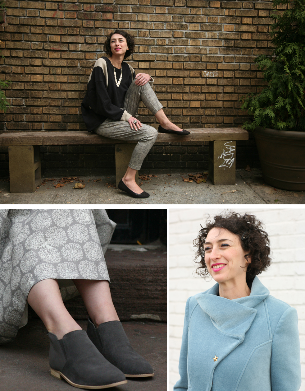 (Clockwise from top): Shirt + pants,  Miakoda ; Necklace + Ring, Mata Traders; Shoes, model's own; Coat, Vaute Couture; Skirt, Vaute Couture; Booties,  Bhava