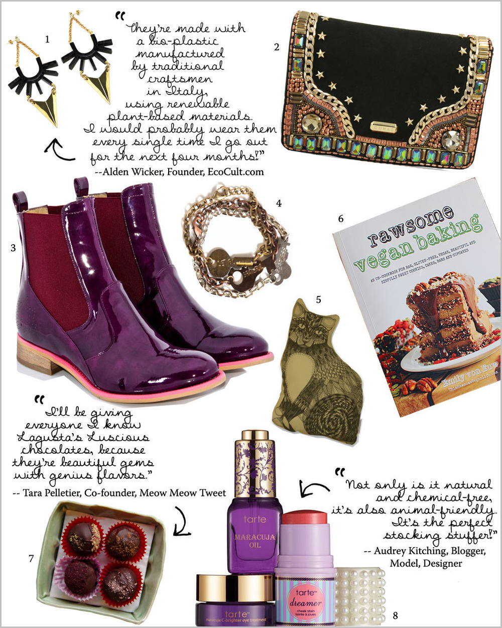 """1. EA Burns """"Span the Depth"""" Earrings // 2. Gunas """"Admiral"""" Clutch // 3. Bourgeois Boheme """"Matilda"""" Patent Boot // 4. The Giving Keys """"Never Ending"""" Bracelets // 5. The Rise and Fall Cat Pillow in Gold // 6. """"Rawsome Vegan Baking"""" Book by Emily Von Euw // 7. Lagusta's Luscious """"Locavore Box"""" of Truffles (Vegan) // 8. Tarte """"Sweet Dreams Best-Sellers Collection"""""""