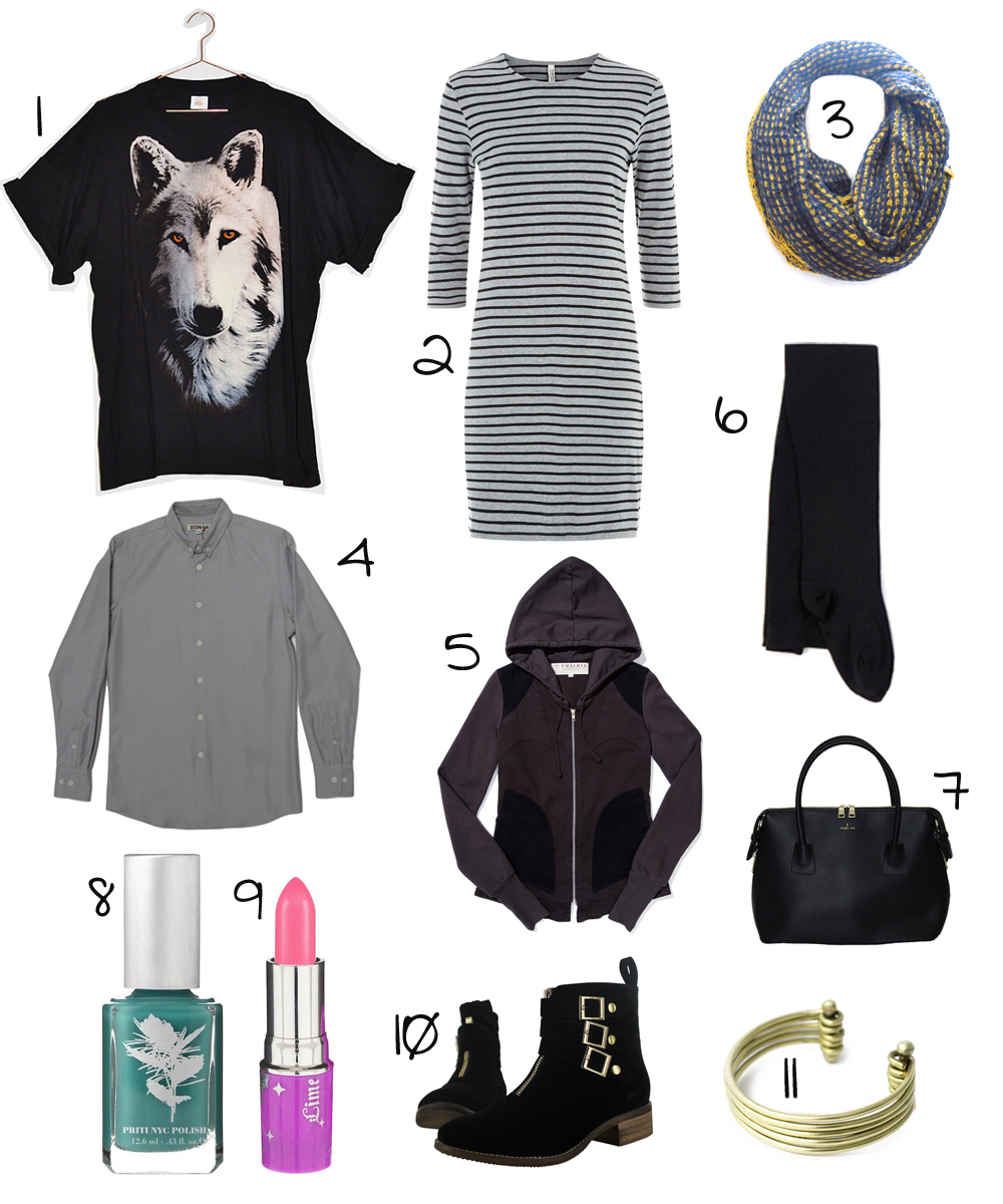 """1. The Style Lion Vintage Wolf T // 2. People Tree """"Poppy"""" Dress // 3. Bohemian Scarf // 4. Brave Gentleman Gray Twill Shirt (in men's for an oversize fit) // 5. Prairie Underground """"Bungalow"""" Hoodie // 6. Fashion-Conscience Tights // 7. Angela & Roi """"Moa"""" Tote // 8. Priti Nail Polish in Devil's Ivy // 9. Lime Crime Lipstick in Geradium // 10. Cri de Coeur """"Cecily"""" Booties // 11. SOKO Stacked Bracelet"""