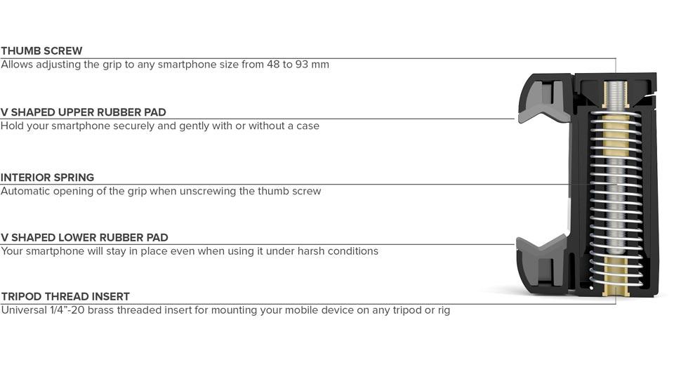 SHOULDERPOD S1 - Professional tripod mount for smartphones iPhone Samsung Galaxy Sony Xperia Nokia Lumia Nexus HTC One