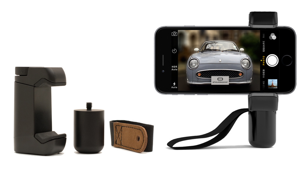 iPhone tripod mount FOR IPHONE 5, 6, 7 AND PLUS -adjustable Grip, aluminum HANDLE Extension and Wrist Strap.