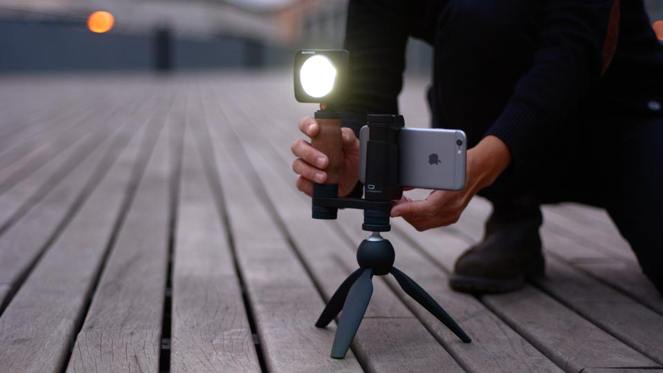 Shoulderpod R1 Go iPhone rig on tripod