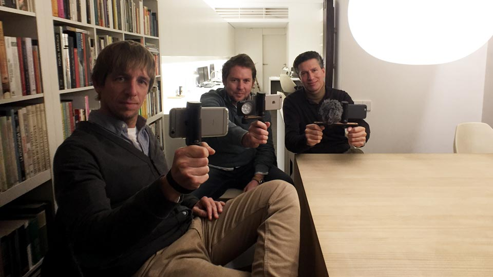 Bruno Saguer and Oskar Vidal from Eyetok with Enrique Frisancho from Shoulderpod