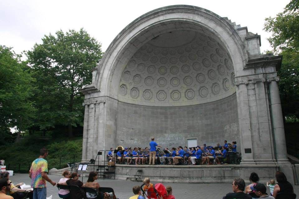 Columbia Summer Winds performing in the band shell during summer 2013.