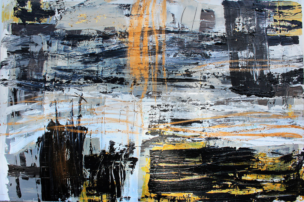 paris series no. 1 / acrylic on canvas and gold leaf / 48 in. x 72 in.