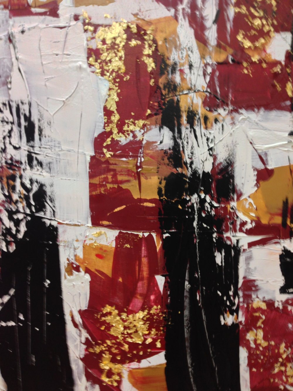 paris avec rouge / acrylic on canvas and gold leaf / 84 in. x 72 in.