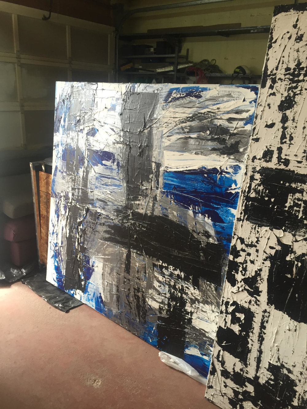 black, blue and silver / acrylic on canvas / 60 in. x 60 in.