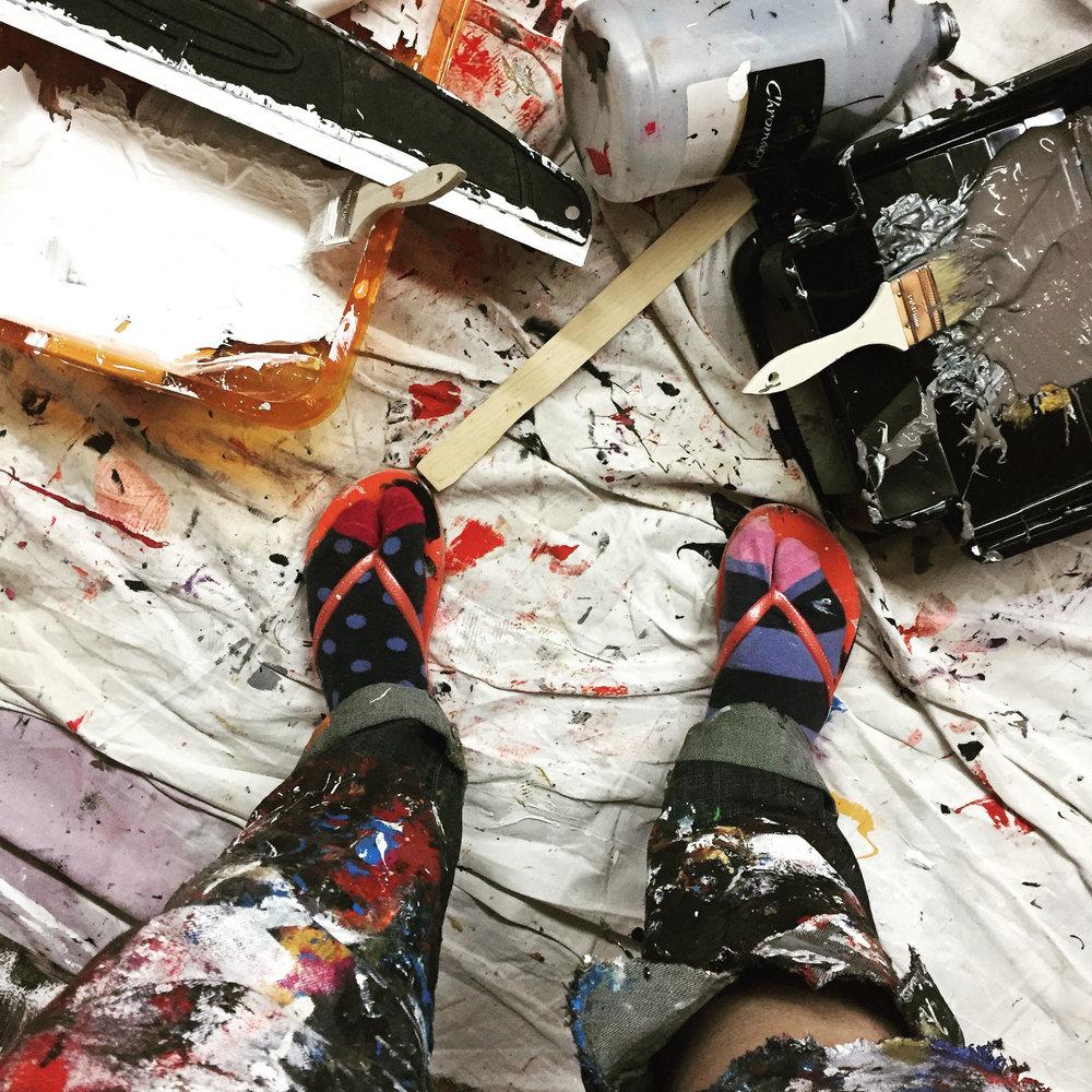 paint pants socks and paint trays.jpg
