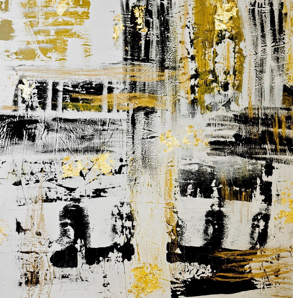 paris series no. 2 / acrylic on canvas, gold leaf / 60 in. x 60 in.