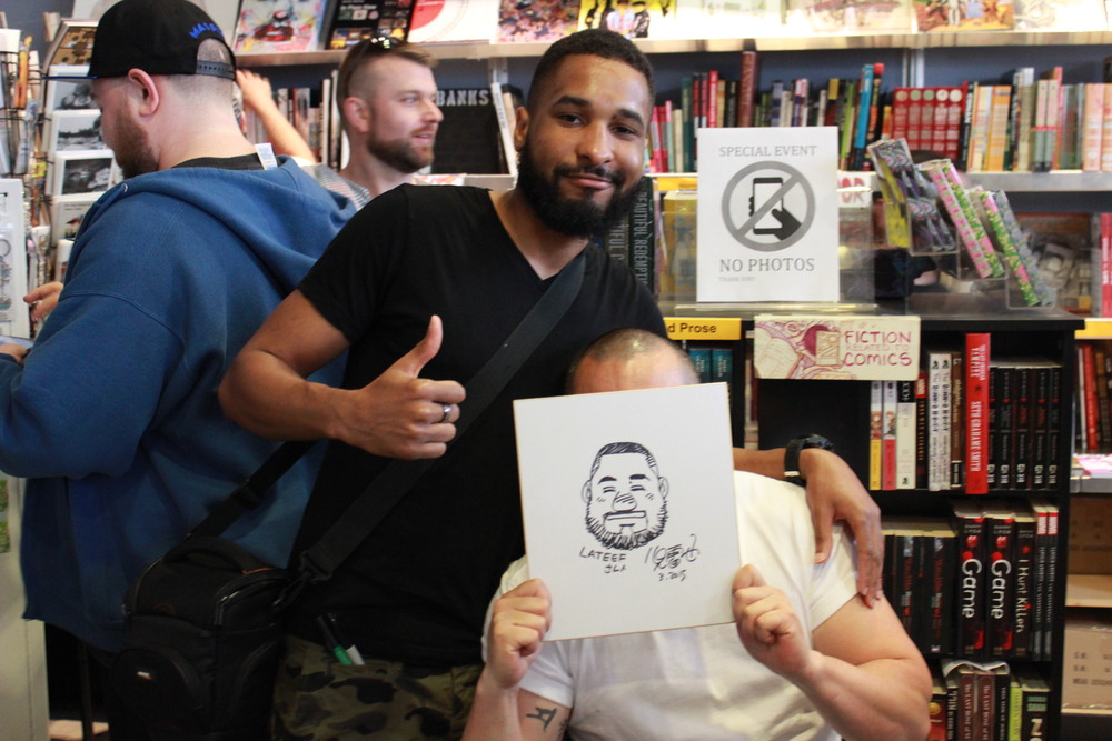 Jiraiya-san maintains his facial anonymity behind the sketch he created for me.