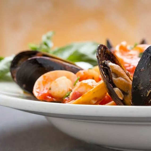 LINGUINI PESCATORE An assortment of seafood, shrimps, & clams with marinara sauce on a bed of linguine  Photo by @bradfordtennyson  #italianfood #italianrestaurant #sandiegorestaurants #food #italian #linguinipascatore #seafood #shrimp #instafood #pasta