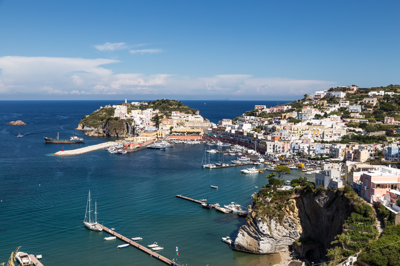 View of the main port in Ponza, Italy.