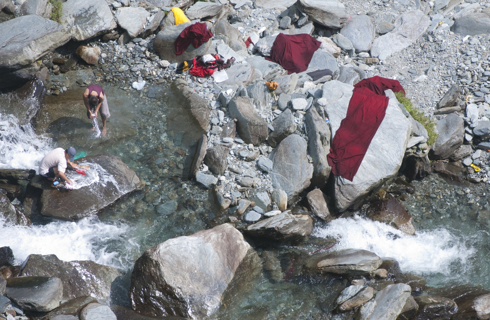 Monks washing their robes.