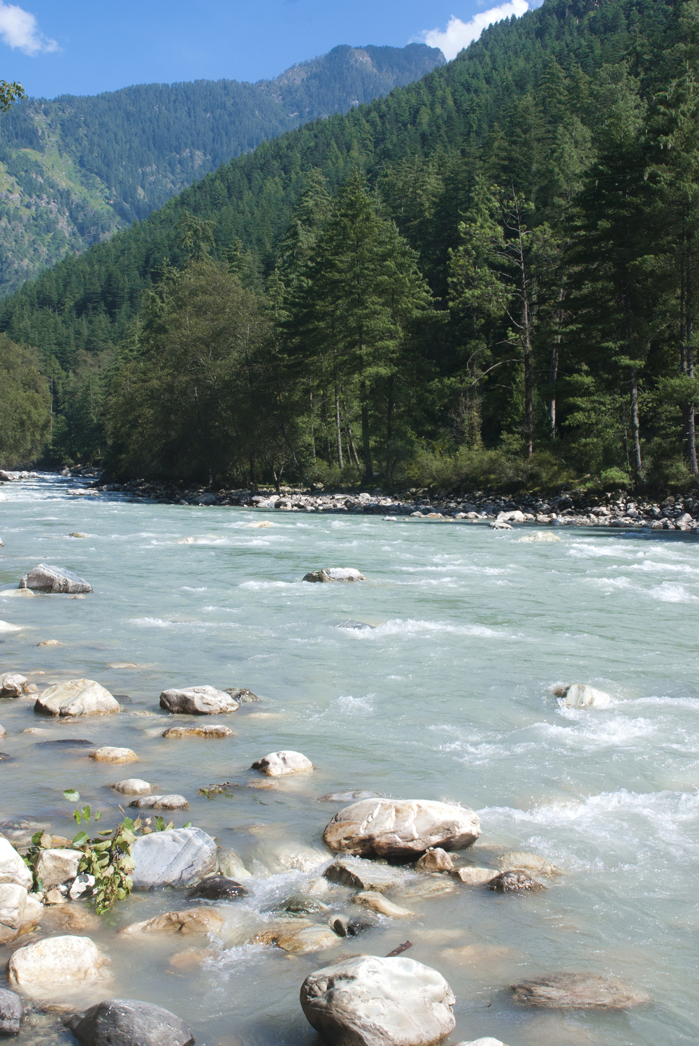 The Paravati River nestled in the Valley.