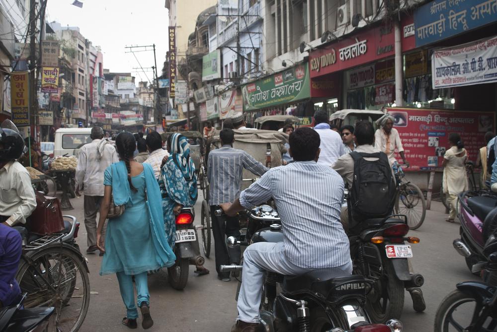 A bustling street in Varanasi.