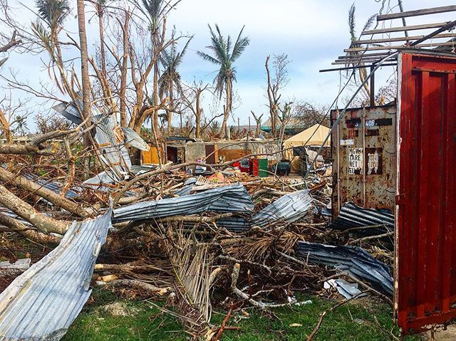 Nearly 100% of the island has lost their home. Pictured here (sometimes you have to look very close), military has set up tents on the properties which families have moved into while the long road to recovery begins. ———————— Hardly in the news, but 2 weeks ago cat 5 typhoon #Yutu made landfall on US territory, Mariana islands with wind speeds of 180 mph. #MarianaStrong