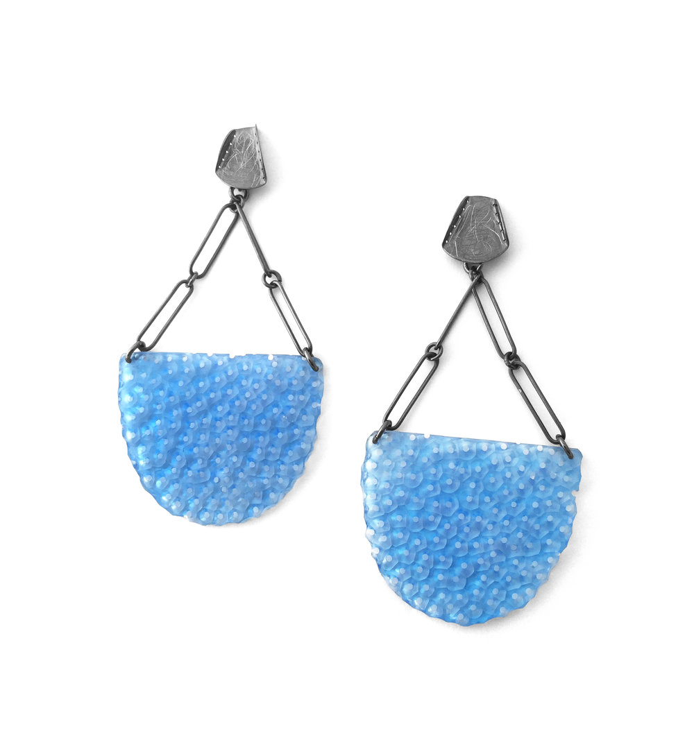 Blue Scoops  ; Oxidized silver, acrylic
