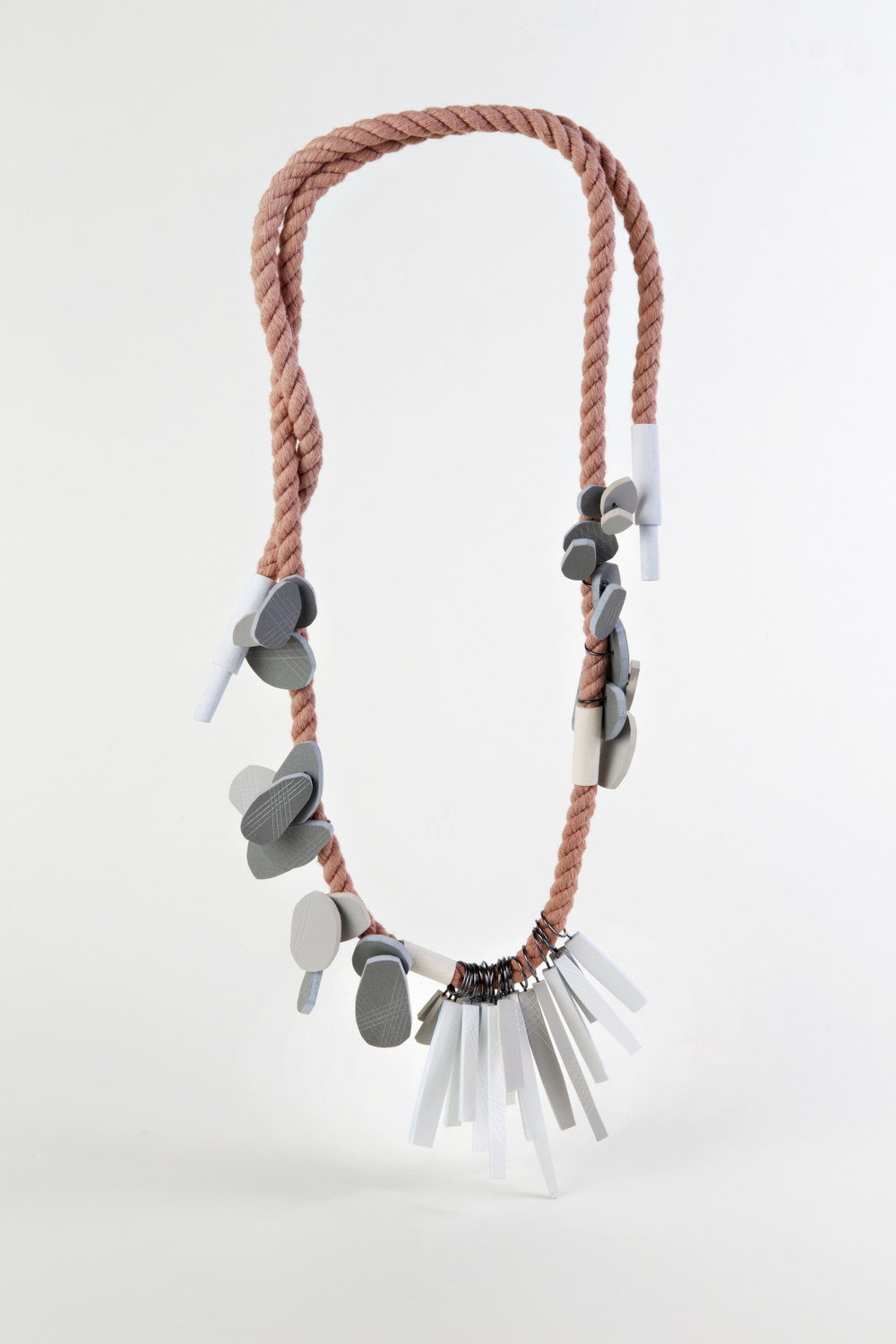 Clustered Nuggets and Straws, PVC, silver, rope