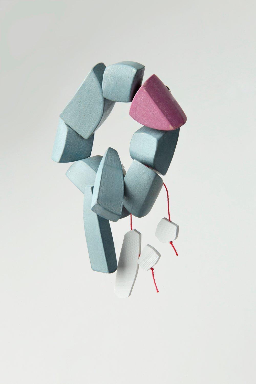 Hangers-On  ; wood, milk paint, PVC, c-Lon