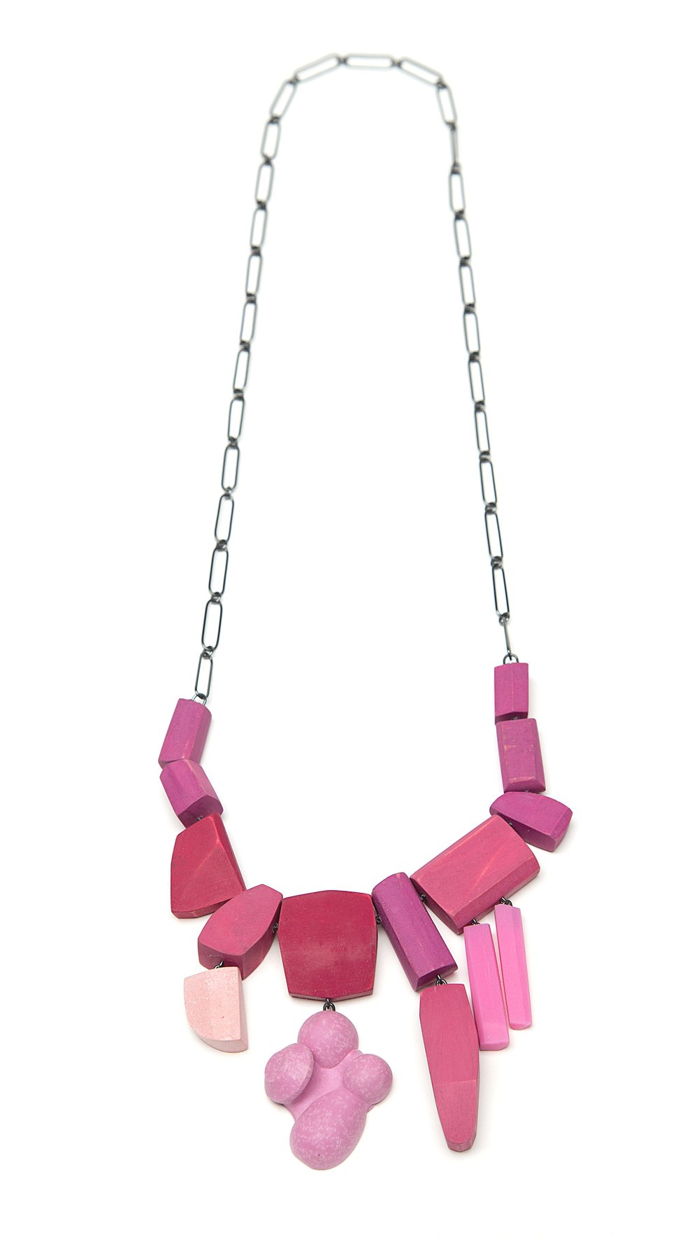 Pink Drops  , Oxidized silver, holly, milk paint, aqua resin, acrylic