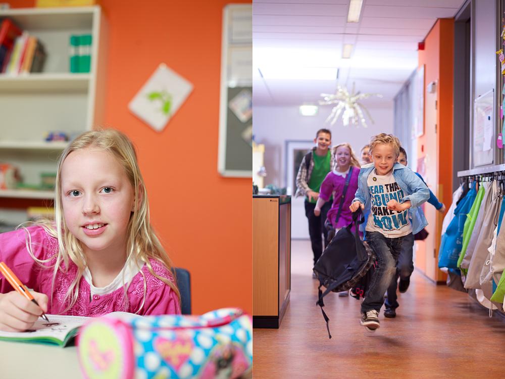 leerling aan tafel en leerlingen rennend in de gang
