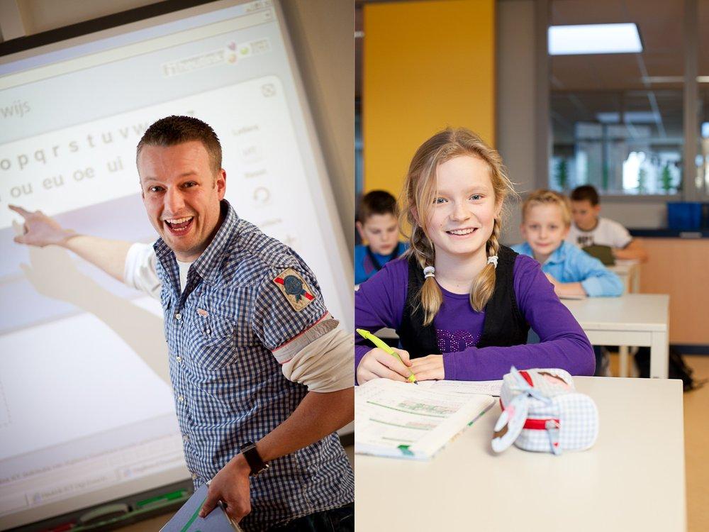 leraar voor het bord en leerling in de klas