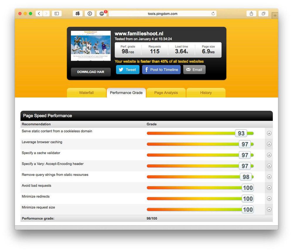 Een review van mijn website http://www.familieshoot.nl gemeten op Pingdom. Hier zie je dat mijn performance grade 98/100 is wat uitzonderlijk goed is!