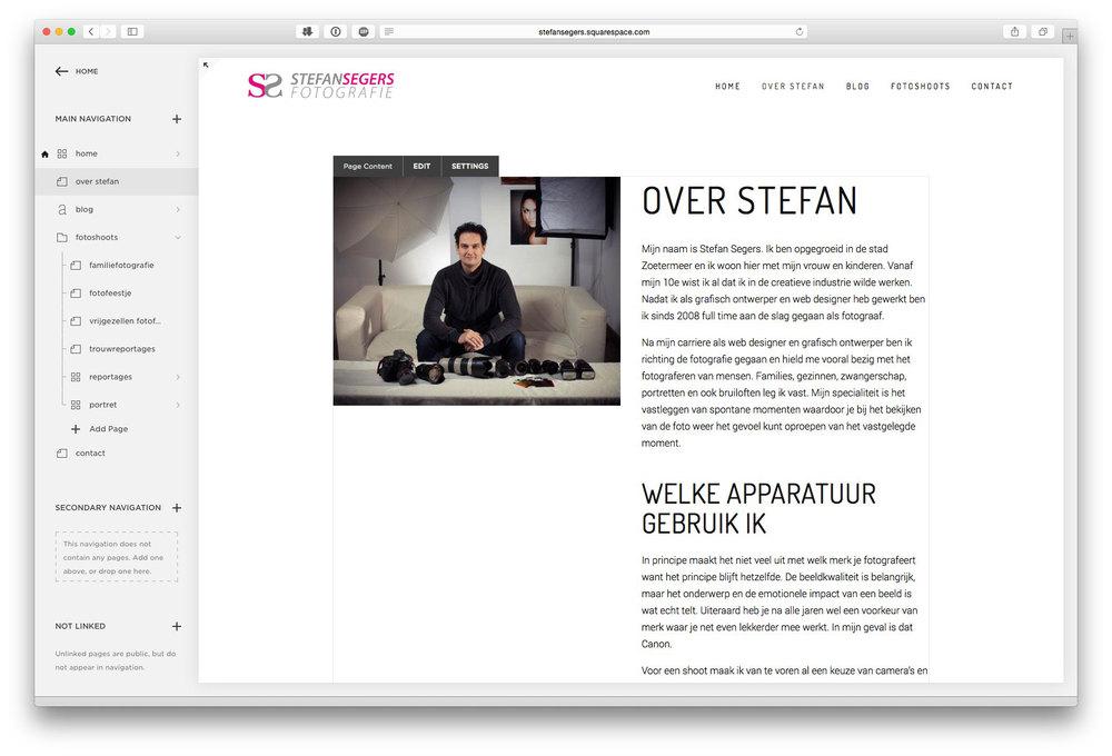 Bewerken van een pagina is heel gemakkelijk in SquareSpace. Browse door je menu en klik in de pagina waar je wilt bewerken. Alles is wat je ziet is wat je krijgt.