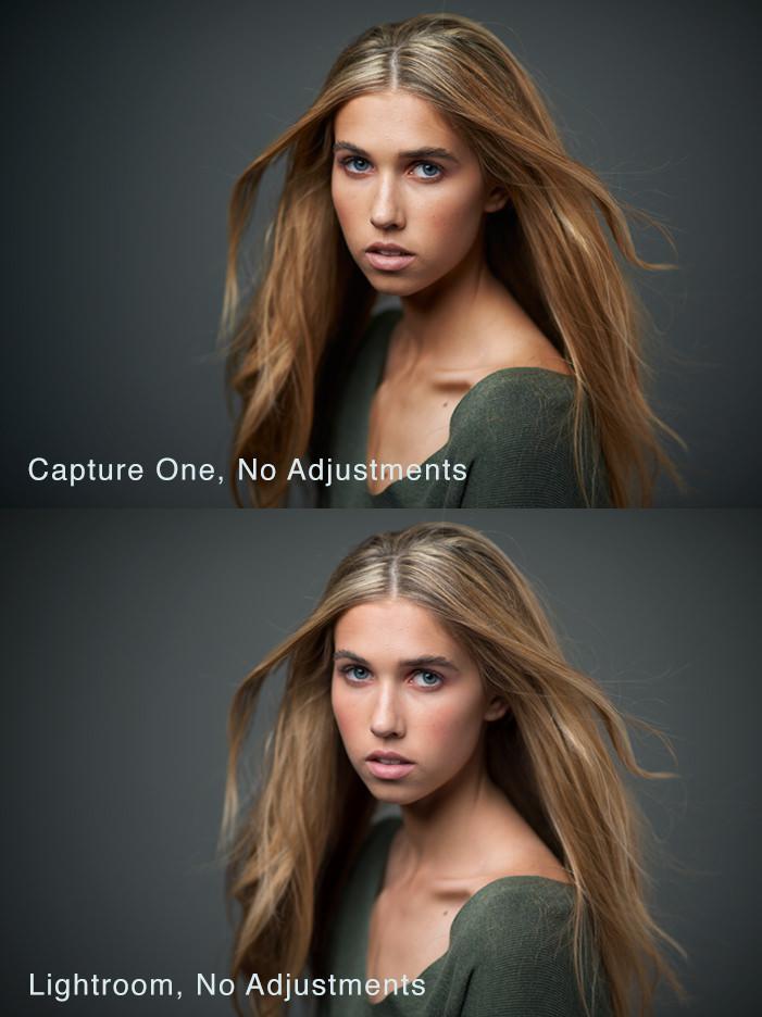 Hier een vergelijking met Lightroom. Let eens op het verschil in contrast en scherpte van Capture One. Ook huid kleuren zijn net even wat beter dan in Lightroom. (foto: Michael Woloszynowicz