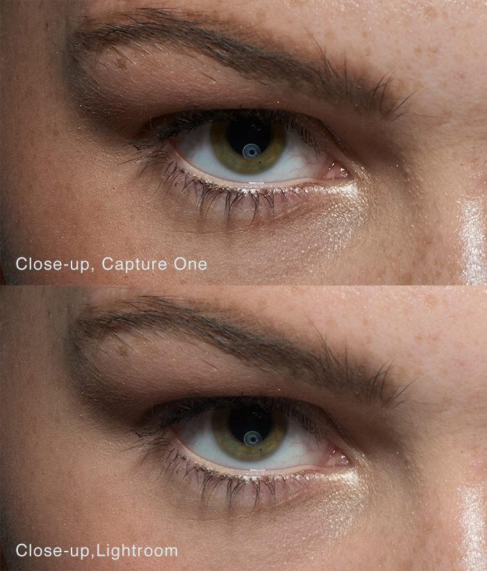 Hier een detail uit een portret. Je ziet hier duidelijk het verschil tussen Capture One en Lightroom. Capture One is duidelijke scherper en heeft betere huidtinten. Beide foto's zijn onbewerkt. (foto: Michael Woloszynowicz)