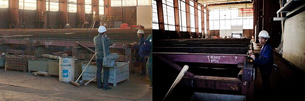 Hier ben ik aan het werk bij Royal IHC. Je ziet links het moment en rechts het eindresultaat.