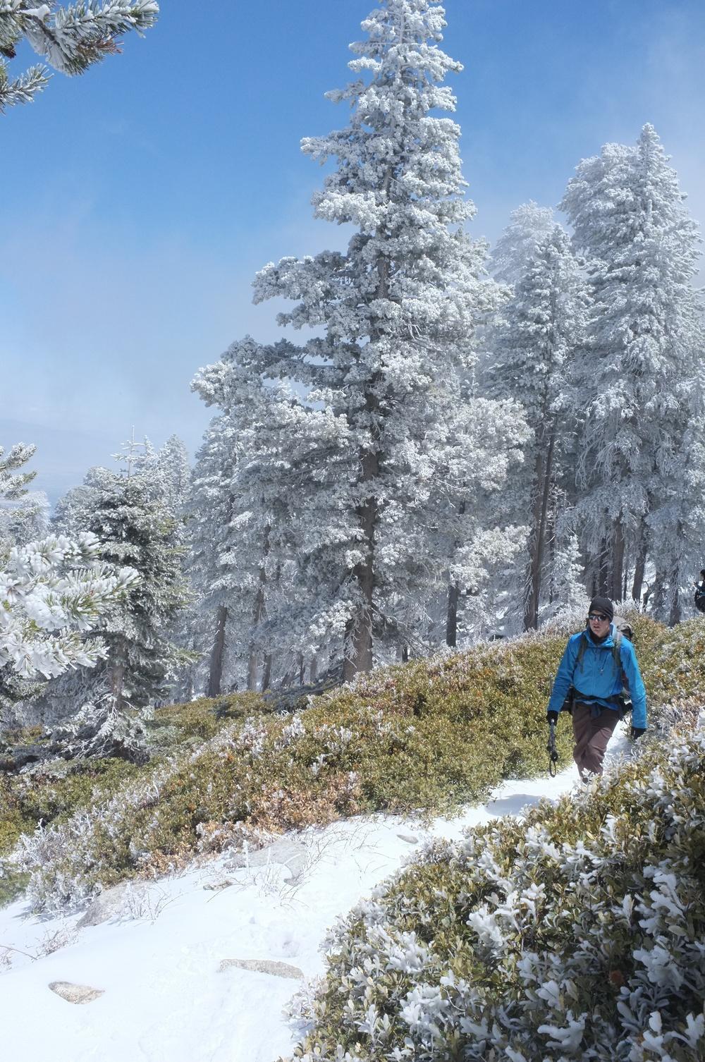 Jonathan hiking through the fresh snow.