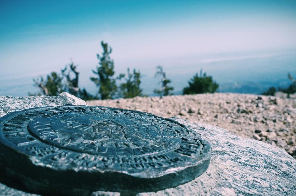 USGS seal at the top of the mountain.