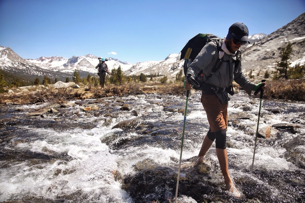Epic stream crossings in the Sierra. Dan did this one barefoot.