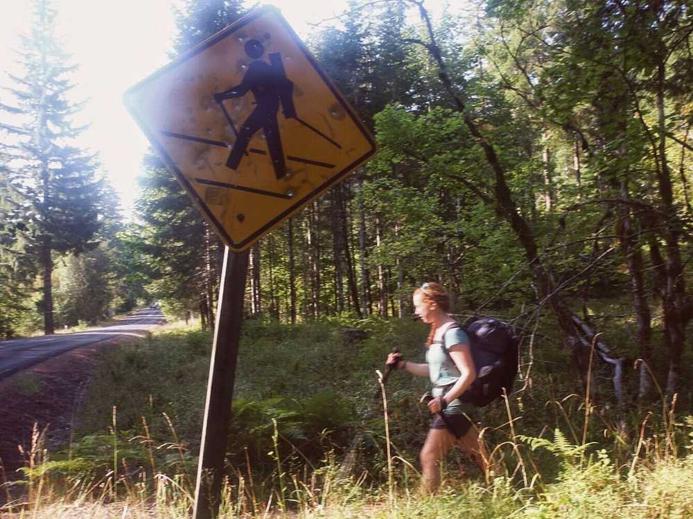 Haha, hiker crossing. Somebody added the poles and pack with tape. Oh, and the sign has hella bullet holes in it.