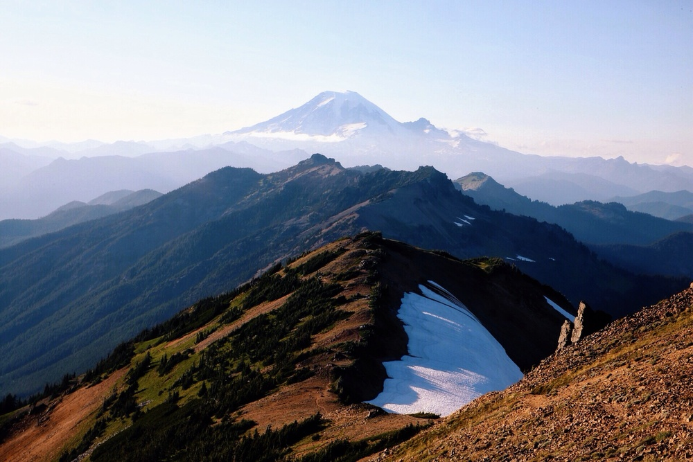 Mile 2285. Knife's Edge with Mt. Rainier in the background.
