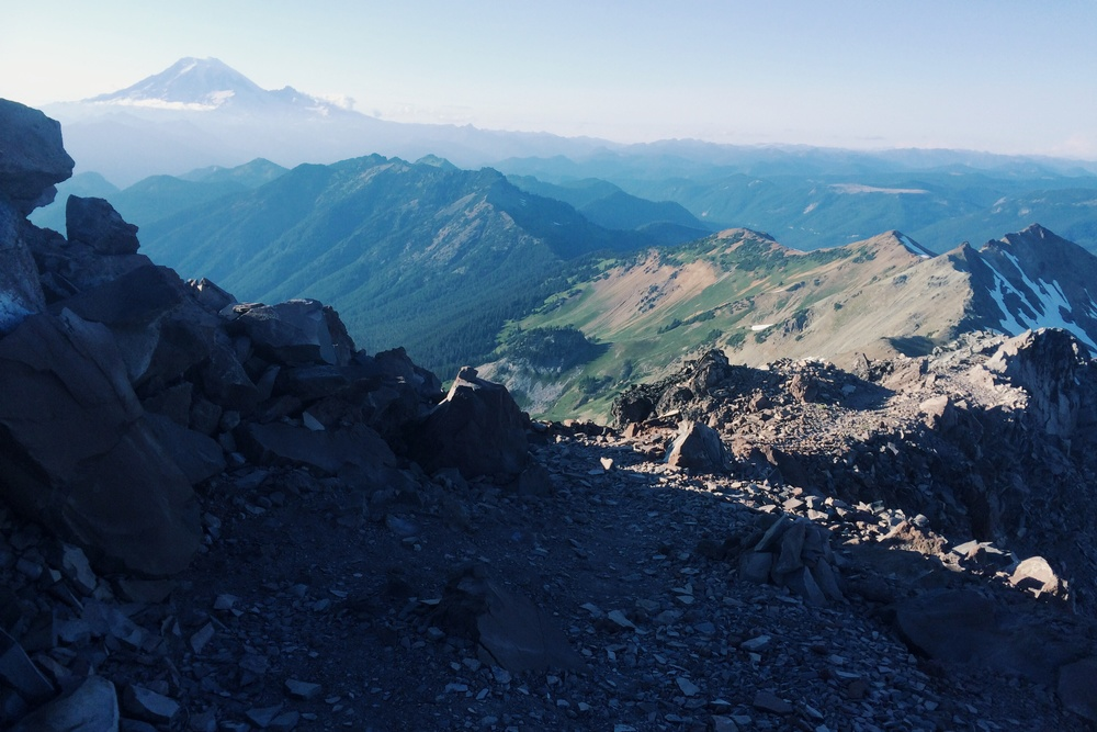 The Knife's Edge is the trail running from the foreground along the right of the photo. Rainier in the topleft.