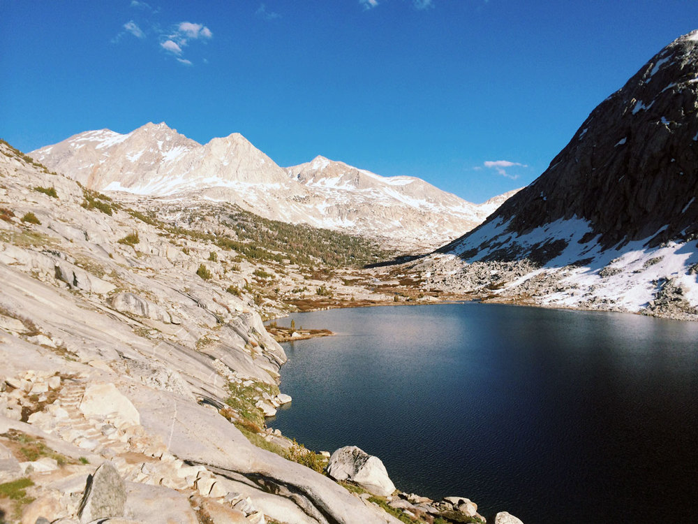 View of Palisades Lake and the north face of Mather Pass.