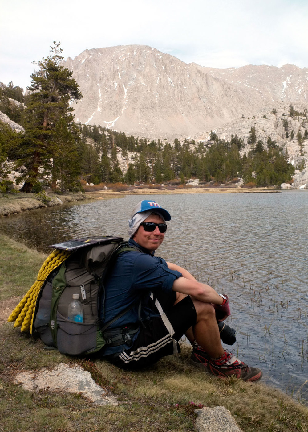 Taking a picture and a break lake-side. We were on our Mt. Whitney evening approach.